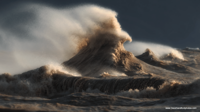 Image: Photograph of a liquid mountain on Lake Erie