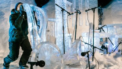 Image: musicians play at the Ice Festival