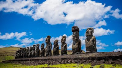 Image: a row of stone heads on Rapa Nui also known as Easter Island