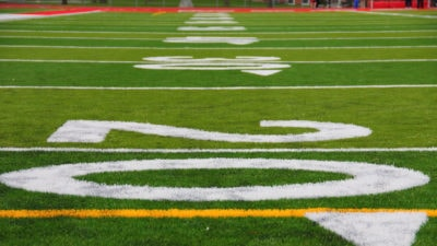 Image: Up close image of numbers on a football field